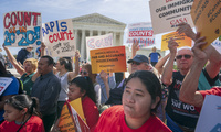 Immigration activists rally outside the Supreme Court
