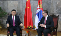 Chinese President Xi Jinping meets with Serbian Prime Minister Aleksandar Vucic in Belgrade, Serbia, June 18, 2016