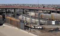 a new barrier is built along the Texas-Mexico border near downtown El Paso