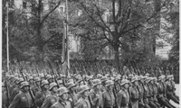 Nazi troops parade through Warsaw, Poland