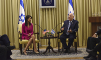 U.S. Ambassador to the United Nations Nikki Haley meets Israeli President Reuven Rivlin