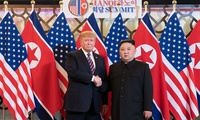 President Donald J. Trump is greeted by Kim Jong Un, Chairman of the State Affairs Commission of the Democratic People's Republic of Korea Wednesday, Feb. 27, 2019, at the Sofitel Legend Metropole hotel in Hanoi, for their second summit meeting.