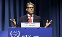 U.S. Energy Secretary Rick Perry delivers a speech during the general conference of the International Atomic Energy Agency