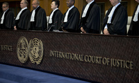 Judges enter the International Court of Justice