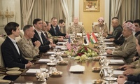 Marine Corps Gen. Joe Dunford, chairman of the Joint Chiefs of Staff; Jared Kushner, senior advisor to President Donald J. Trump; and Tom Bossert, homeland security advisor to the president, meet with Kurdistan Regional Government President Masoud Barzani, April 4, 2017 while on a trip to assess the health of the campaign against the Islamic State of Iraq and Syria.