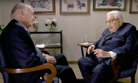Henry Kissinger and Karl Kaiser during the interview.