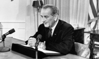 "President Lyndon Johnson tells a nationwide audience that he would not seek nor accept ""the nomination of my party for another term as your president,"""