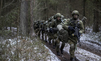 Lithuanian conscripts practice during a NATO military exercise