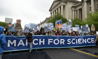March for Science and Banner in Washington, D.C.