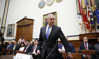 Defense Secretary Jim Mattis takes his seat for a hearing of the House Armed Services Committee