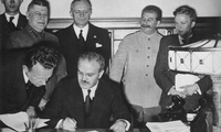 Soviet Foreign Minister Vyacheslav Molotov signs the German–Soviet Treaty of Friendship in Moscow