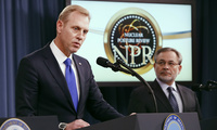 Deputy Defense Secretary Patrick Shanahan, left, speaks next to Deputy Energy Secretary Dan Brouillette, during a news conference