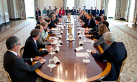 President Barack Obama meets with the President's Council of Advisors on Science and Technology (PCAST) in the State Dining Room