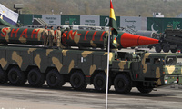 A Pakistani-made Shaheen-III missile is on display during a military parade