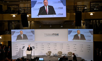 US Secretary of State Mike Pompeo speaks on the podium during the 56th Munich Security Conference in Germany, Feb. 15, 2020