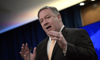Secretary of State Mike Pompeo speaks during a news conference
