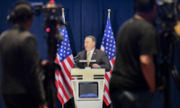 U.S. Secretary of State Mike Pompeo addresses the press at the White House Filing Center in Singapore on June 11, 2018.