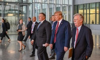 U.S. Secretary of State Michael R. Pompeo participates in a press conference with U.S. President Donald J. Trump during the NATO Foreign Ministerial in Brussels