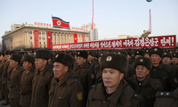 Military personnel gather at Kim Il Sung Square in Pyongyang