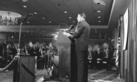 President Ronald Reagan addresses the Center for Strategic International Studies
