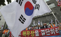 Protesters demand the deployment of nuclear weapons in South Korea, near the presidential Blue House in Seoul