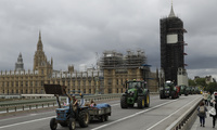 Tractors on Westminster bridge