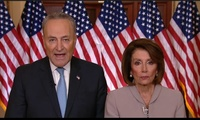 Senate Minority Leader Chuck Schumer of New York and House Speaker Nancy Pelosi of California speaking on Capitol Hill in response to President Donald Trump's Oval Office address