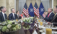 Meeting between NATO Secretary General Jens Stoltenberg and US President Donald Trump.