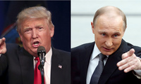 Donald Trump in Syracuse, New York, April 16, 2016; Vladimir Putin in Moscow, Russia, April 14, 2016