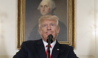 Donald Trump and George Washington painting