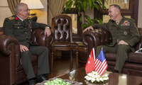 Marine Corps Gen. Joe Dunford, chairman of the Joint Chiefs of Staff, meets with his counterpart Turkish Army Gen. Yasar Güler, chief of the Turkish General Staff, at the Turkish General Staff building in Ankara, Turkey, Jan. 8, 2019.