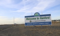 A sign welcomes drivers to Hanford Nuclear Reservation in Benton County, May 9, 2017, in Richland, Wash.