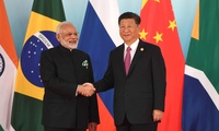 Prime Minister of India Narendra Modi and President of the People's Republic of China Xi Jinping before the beginning of the BRICS Leaders' meeting.